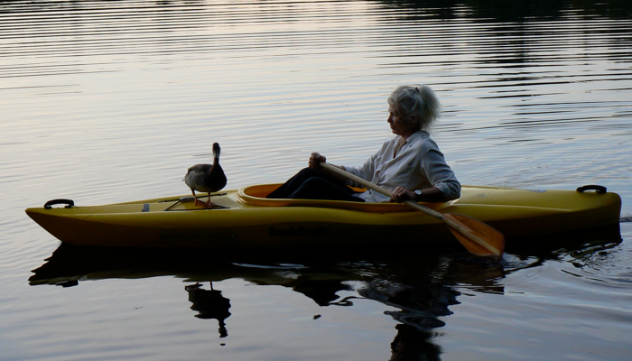 Lindsay kayaking with a duck